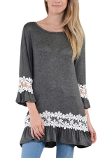 Womens Hollow Out Lace Splicing Ruffled Smock Dress Gray