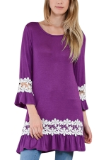 Womens Hollow Out Lace Splicing Ruffled Smock Dress Purple