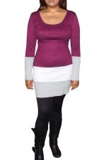 Womens Round Neck Color Block Long Sleeve Dress Purple