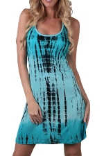 Womens Striped Color Gradient Racerback Tank Dress Turquoise