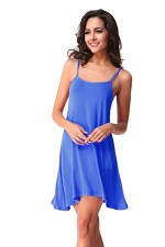 Womens Spaghetti Straps Plain Backless Smock Dress Blue