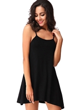 Womens Spaghetti Straps Plain Backless Smock Dress Black