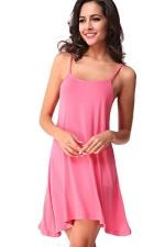 Womens Spaghetti Straps Plain Backless Smock Dress Pink