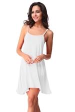 Womens Spaghetti Straps Plain Backless Smock Dress White