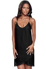 Womens Sheer Spaghetti Straps Sleeveless Plain Smock Dress Black