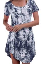 Womens Tie Dye Irregular Hem Short Sleeve Smock Dress Blue