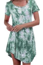 Womens Tie Dye Irregular Hem Short Sleeve Smock Dress Green