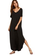 Womens Loose Sides Slit Short Sleeve Plain Maxi Dress Black