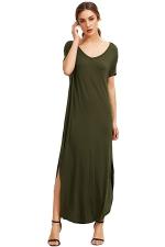 Womens Loose Sides Slit Short Sleeve Plain Maxi Dress Green