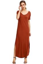 Womens Loose Sides Slit Short Sleeve Plain Maxi Dress Tangerine