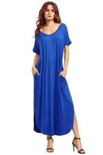 Womens Loose Sides Slit Short Sleeve Plain Maxi Dress Sapphire Blue