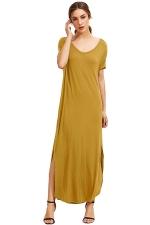 Womens Loose Sides Slit Short Sleeve Plain Maxi Dress Yellow