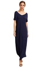 Womens Loose Sides Slit Short Sleeve Plain Maxi Dress Navy Blue
