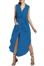 Womens V-neck Sleeveless Slit Pockets Sheer Maxi Dress Blue