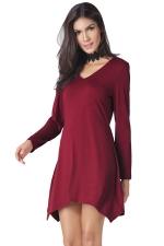 Womens V-neck Irregular Hem Long Sleeve Plain Dress Ruby