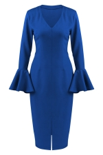 Womens V Neck Ruffled Sleeve Front Slit Plain Long Sleeve Dress Blue