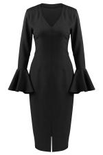 Womens V Neck Ruffled Sleeve Front Slit Plain Long Sleeve Dress Black