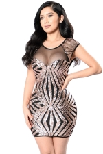 Womens Sheer Mesh Patchwork Sequined Clubwear Dress Gold