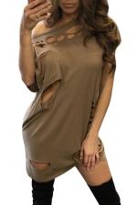 Womens Ripped Cutout Short Sleeve Plain Clubwear Dress Brown