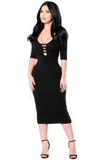 Womens Cutout Half Sleeve Plain Bodycon Midi Dress Black