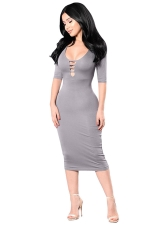 Womens Cutout Half Sleeve Plain Bodycon Midi Dress Gray
