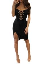 Womens Cross Lace-up Front Side Slit Clubwear Dress Black