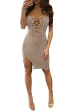 Womens Cross Lace-up Front Side Slit Clubwear Dress Gray