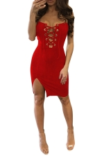 Womens Cross Lace-up Front Side Slit Clubwear Dress Red