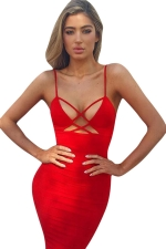 Womens Spaghetti Straps Cut Out Plain Midi Clubwear Dress Red