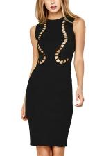 Womens Hollow Out Plain Midi Sleeveless Tank Dress Black