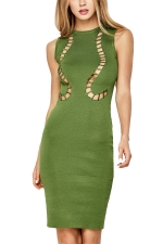 Womens Hollow Out Plain Midi Sleeveless Tank Dress Green
