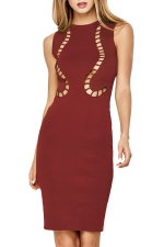 Womens Hollow Out Plain Midi Sleeveless Tank Dress Ruby