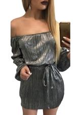 Womens Off Shoulder Long Sleeve Tunic Plain Dress Black