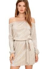 Womens Off Shoulder Long Sleeve Tunic Plain Dress Gold