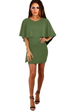 Womens Cape Lace-up Backless Plain Bodycon Dress Army Green