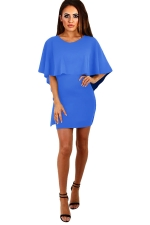 Womens Cape Lace-up Backless Plain Bodycon Dress Blue