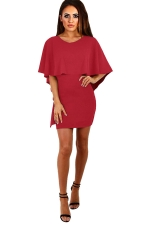 Womens Cape Lace-up Backless Plain Bodycon Dress Ruby