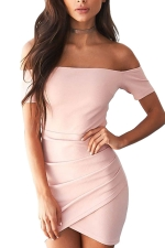 Womens Off Shoulder Ruched Plain Mini Clubwear Dress Pink
