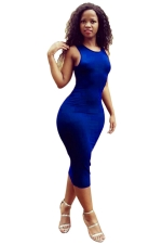 Womens Sleeveless Strappy Back Plain Midi Clubwear Dress Blue