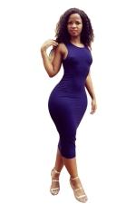 Womens Sleeveless Strappy Back Plain Midi Clubwear Dress Purple