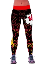 Womens Geometric Letter Printed Ankle Length Sports Leggings Red