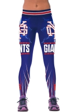 Womens Giants Printed Ankle Length Sports Leggings Blue