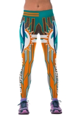 Womens Dolphins Printed Ankle Length Sports Leggings Turquoise