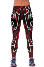 Womens FALCONS Printed Ankle Length Sports Leggings Red