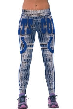 Womens COLTS Printed Ankle Length Sports Leggings Blue