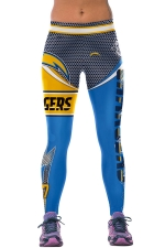 Womens CHARGERS Printed Ankle Length Sports Leggings Blue