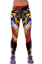 Womens RAVENS Printed Ankle Length Sports Leggings Red