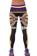 Womens Vikings Printed Ankle Length Sports Leggings Purple