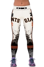 Womens GIANTS Printed Ankle Length Sports Leggings White