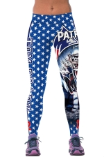 Womens PATRIOTS Printed Ankle Length Sports Leggings Blue